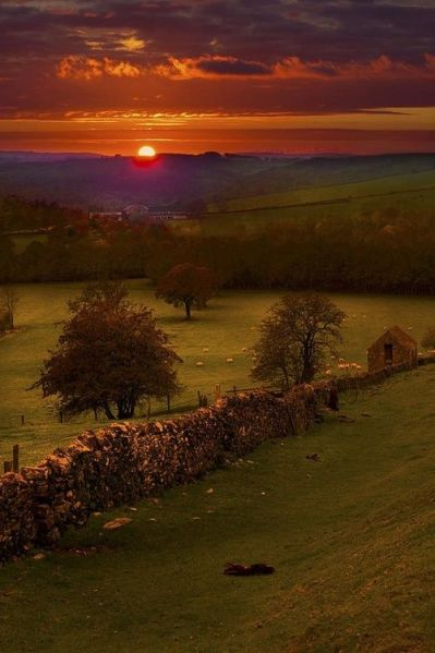 Sunset, Peak District, Derbyshire, England: