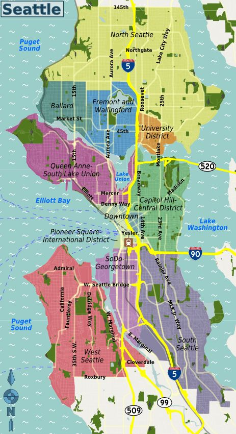 Seattle neighborhood map   My favorite Places   Pinterest ...