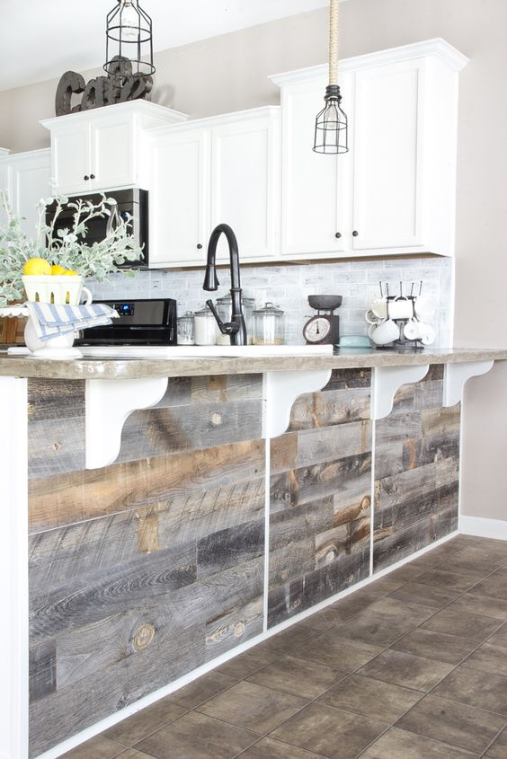 A quick and easy tutorial to get a rustic reclaimed look on a kitchen bar using real weathered wood from Stikwood without any nails required.: