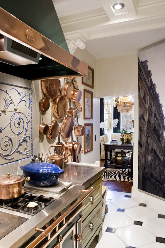 La Cornue, copper, kitchen, small space, apartment, concrete tile, concrete countertops, copper.: