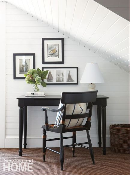 writing nook with white plank walls