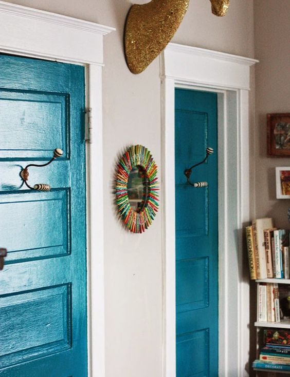 22 Gorgeous Painted Interior Doors that Aren't White ... on Door Color Ideas  id=42461