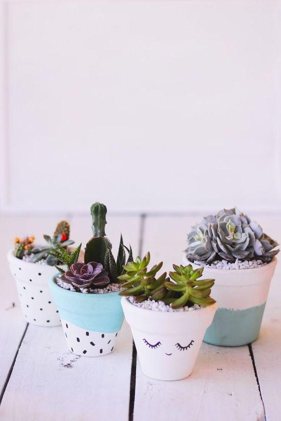 DIY: Vaso de barro decorado para suculentas, vaso, plantas, artesanato, pintura, faça você mesmo: