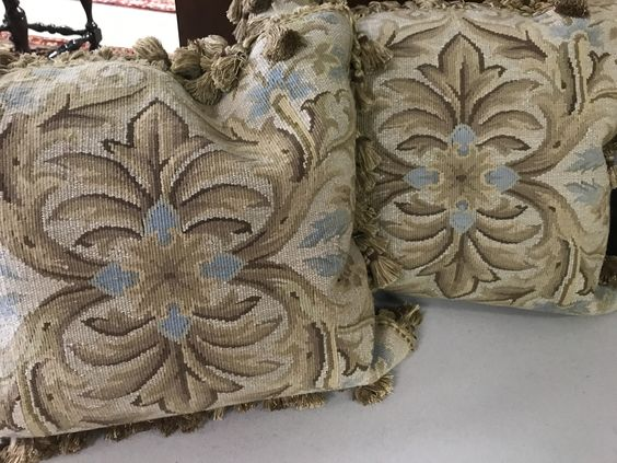$295 Ea. 217-9005 Blue, brown and cream aubusson down filled pillow 20x20