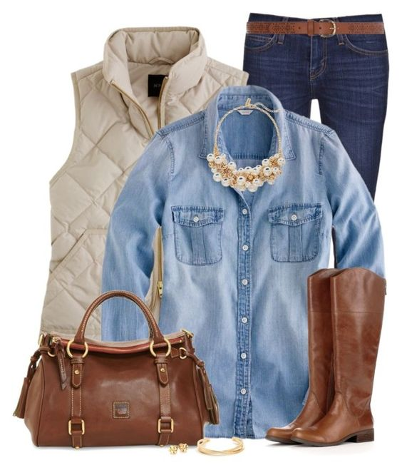 """Chambray Shirt for Fall"" by immacherry ❤ liked on Polyvore featuring Current/Elliott, J.Crew, The Limited, Sole Society, Dooney & Bourke, Tory Burch and Dorothy Perkins:"