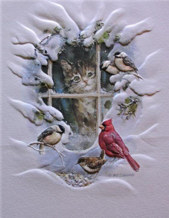Schnee Vintage Weihnachten And Vgel On Pinterest