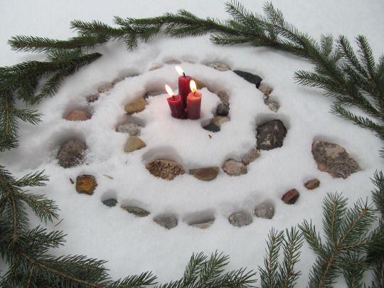 Red Candles Yule And Labyrinths On Pinterest
