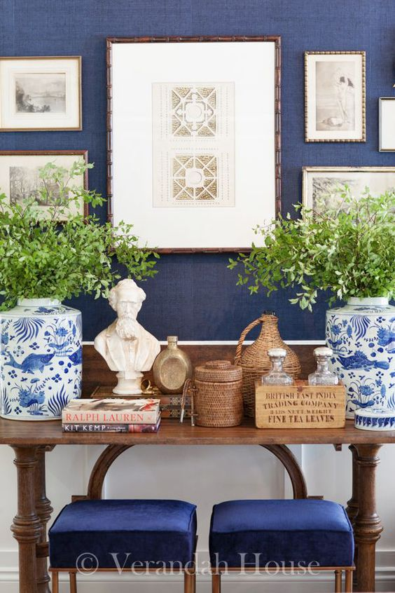 Blue and White Monday: Navy Walls | love this vignette with blue and white chinoiserie porcelains from Verandah House Interiors: