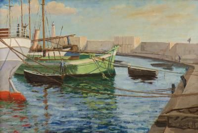 Boats at Cannes Harbor, 1937. Painting by Sir Winston Churchill: