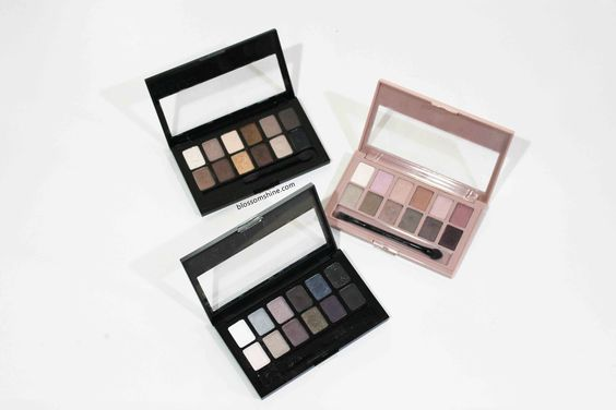 Top - Bottom: Maybelline The Nudes Palette, Maybelline The Blushed Nudes, and Maybelline The Rocked Nudes Palette