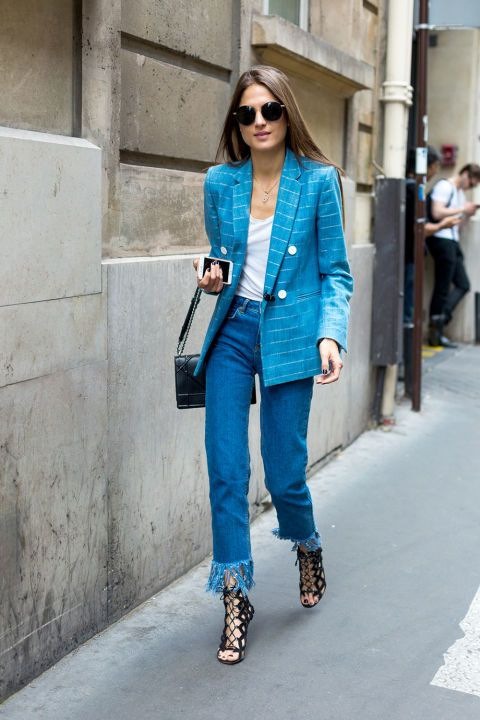blue outfit: