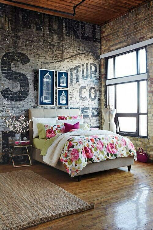 bedroom | Tumblr…. love exposed brick and wood floors.:
