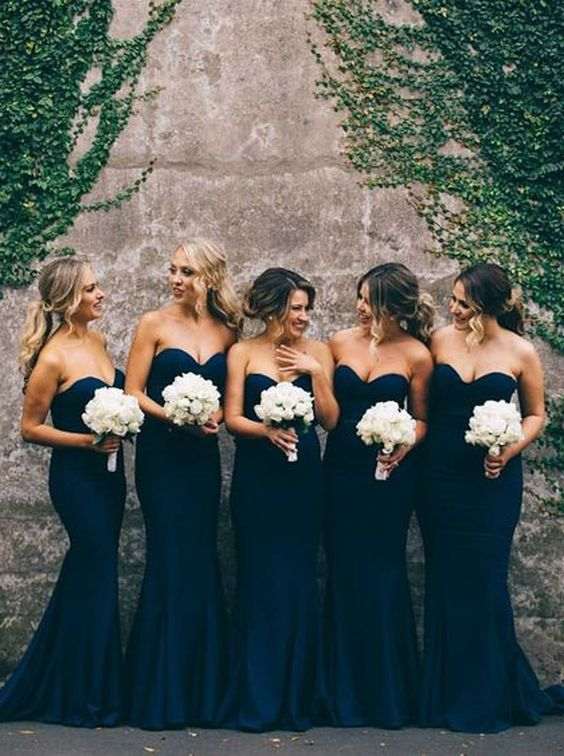 Elegant Sweetheart Sweep Train Dark Navy Mermaid Bridesmaid Dress: