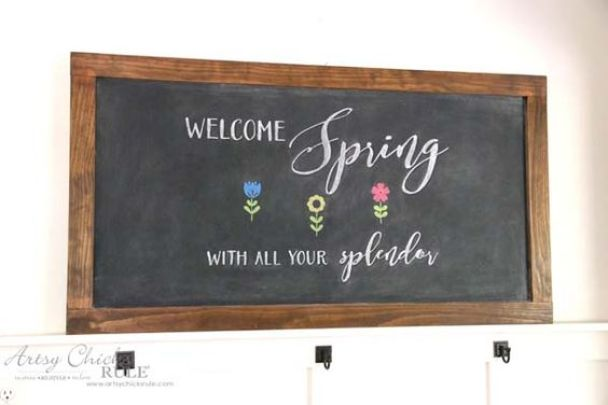 DIY Farmhouse Inspired Chalkboard - EASY Spring Chalk Art - artsychicksrule: