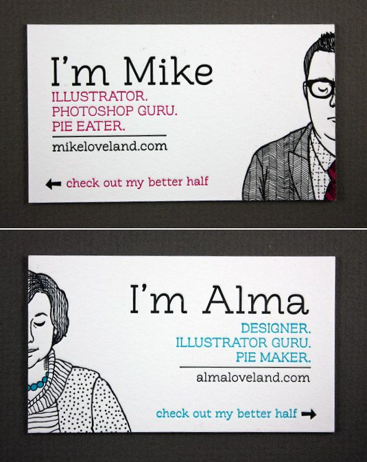 Illustrated better half business cards
