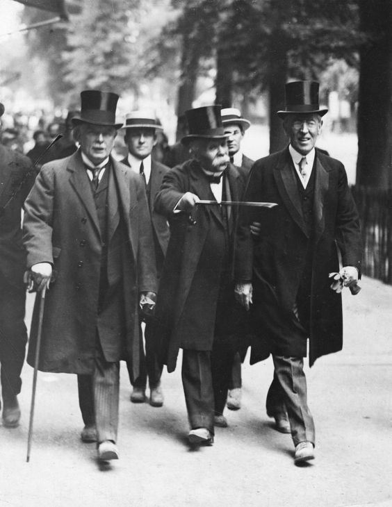 """The badasses of the treaty of Versailles-- The """"big three"""" - Prime Minister David Lloyd George of the United Kingdom, Prime Minister Georges Clemenceau of France, and President Woodrow Wilson of the United States.:"""