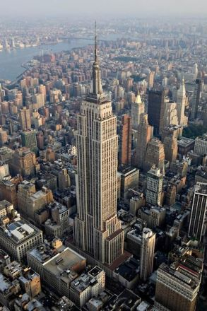 An aerial view of Empire State Building