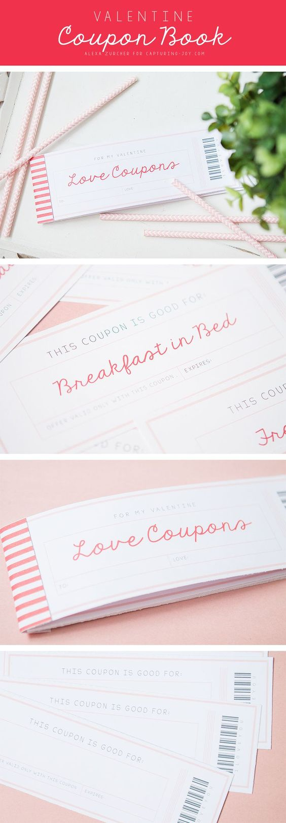 Quick and Easy FREE Printables - Valentine's Day Gift Coupon Book via Capturing Joy with Kristen Duke