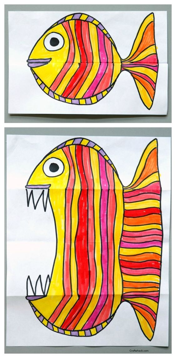 Folding Fish paper art project. Art for kids, easy art projects: