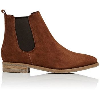 Barneys New York Women's Crepe-Sole Suede Chelsea Boots ($200) ❤ liked on Polyvore featuring shoes, boots, ankle booties, ankle boots, brown suede booties, low heel ankle boots, brown ankle booties and suede boots: