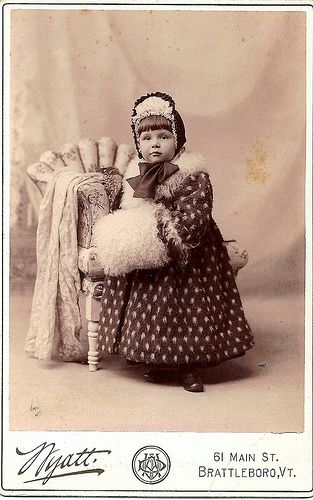 Little Girl in Fur Coat With Muff:
