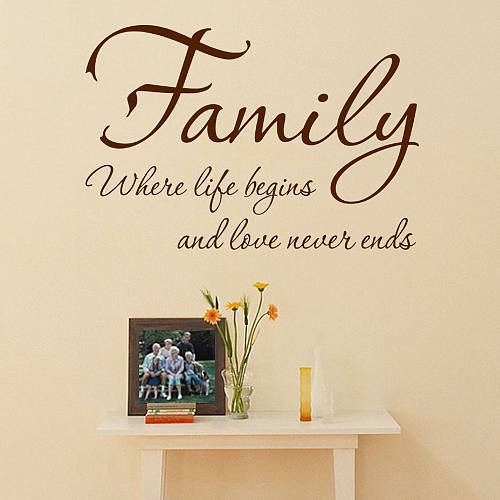 family wall sticker where life begins wall quotes on wall stickers for living room id=77960