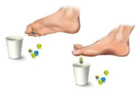 Image result for grab marbles with feet