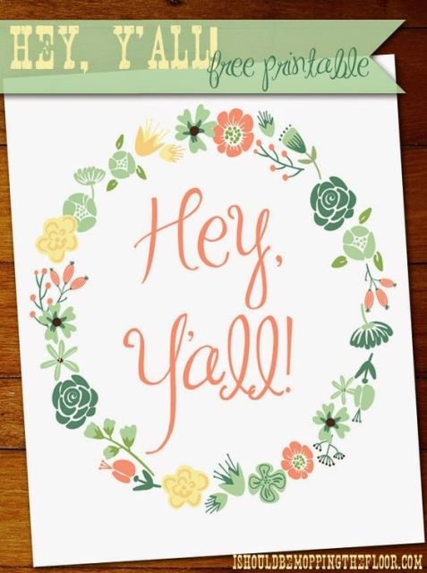 Hey Y'all! Free Printable | 8x10 | Instant Download: