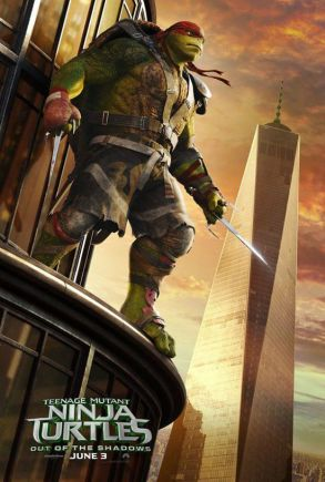 A poster showing One World Trade Center besides a turtle.