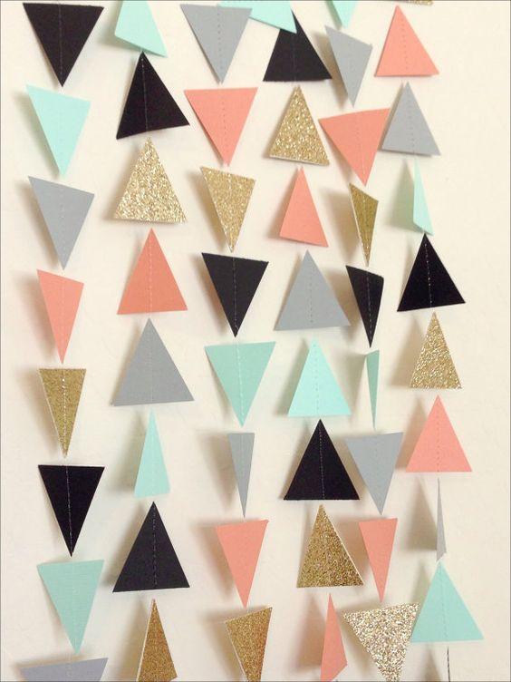 DIY feestdecoratie | driehoekjes slingers