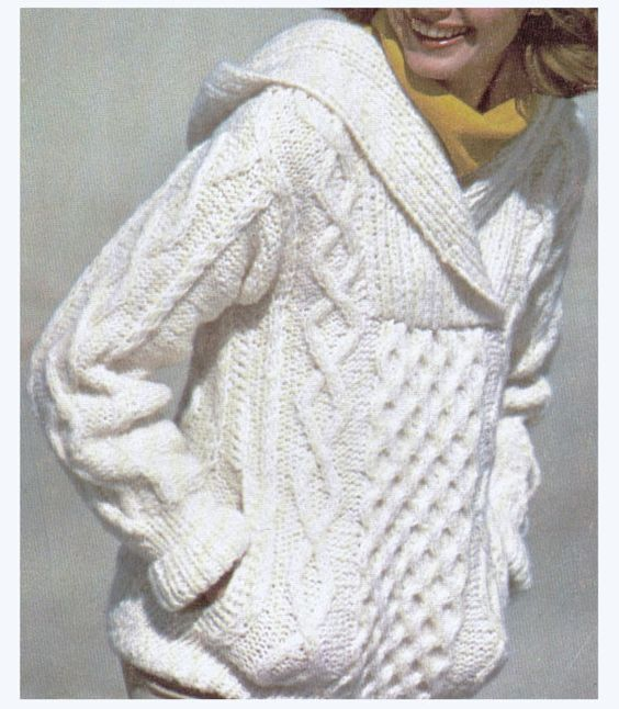 Aran Knit Hooded Sweater Super Sweet by CowichanValley on Etsy, $2.99: