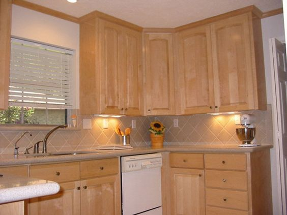 natural maple cabinets with white appliances   White ... on Maple Cabinets White Countertops  id=43159