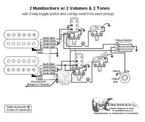 Guitar Wiring Diagram 2 Humbuckers3Way Toggle Switch2 Volumes2 TonesIndividual Coil Taps