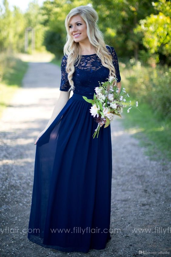 2016 Country Style Navy Blue Bridesmaid Dresses Sheer Crew Neck Lace Top Short Sleeves Chiffon Backless Long Maid of the Honor Dresses: