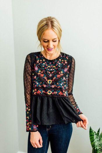 Boheme embro mix // sheer sleeve floral peplum bohemian chic hippie style boho black: