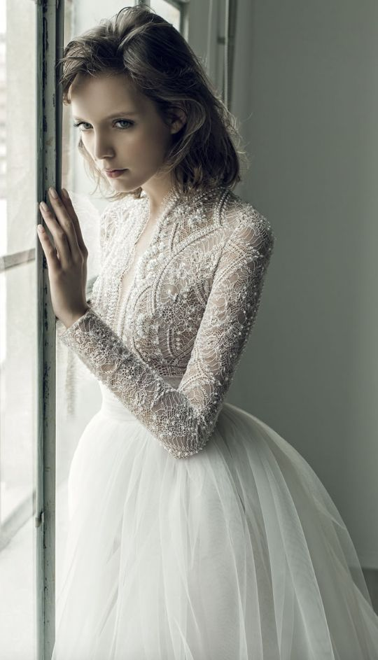 Unique Pearl Studded Netted Bodice Tulle Skirt Wedding Dress: