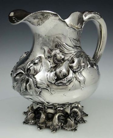 Art nouveau sterling pitcher by Theodore B Starr with irises, 1900: