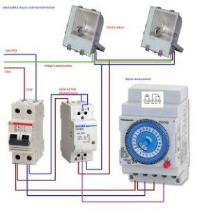 Esquemas eléctricos: maniobra reloj contactor | Esquemas