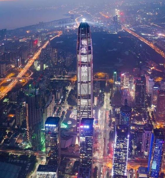 Aerial view of Ping An International Finance Center taken be a drone