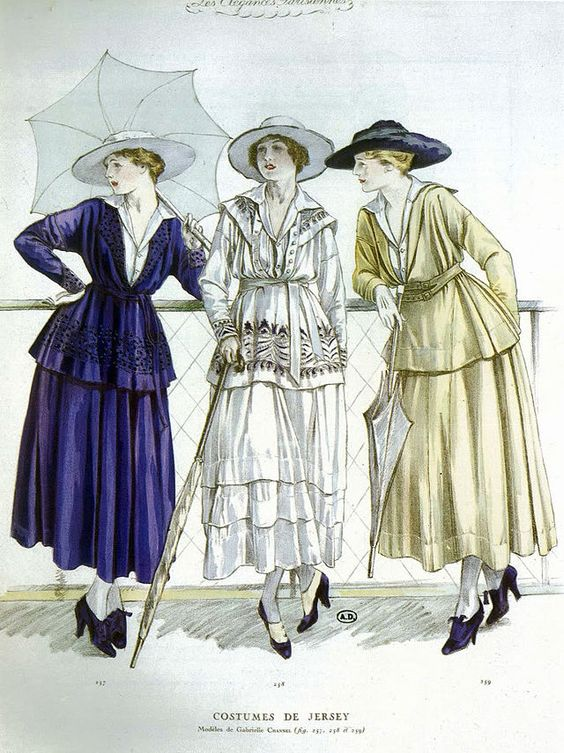 1917 jersey casual wear by Coco Chanel -: