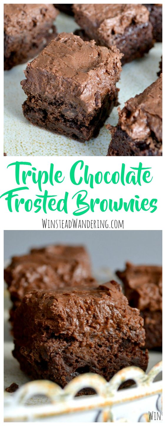A rich brownie recipe is packed with chocolate chips and smothered in a fluffy homemade buttercream to make mouthwatering triple chocolate frosted brownies.: