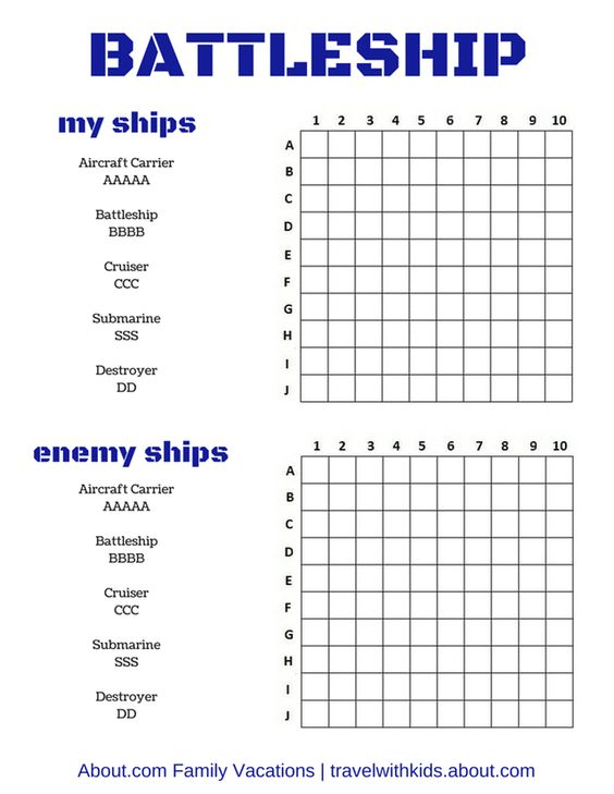 Printable Travel Battleship Game | tripsavvy