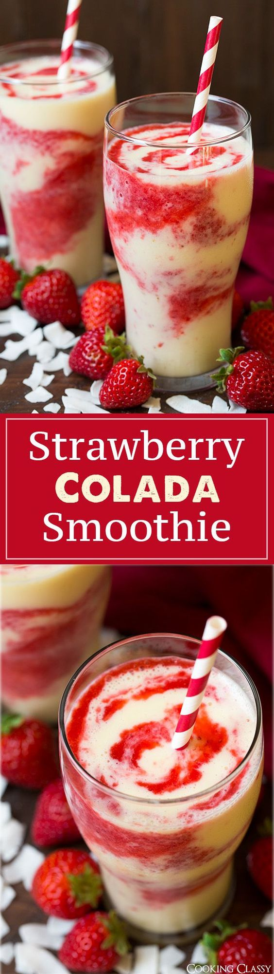 Strawberry Colada Smoothie Recipe via Cooking Classy - these are so refreshing on a hot summer day! Love the strawberry coconut flavor combo!