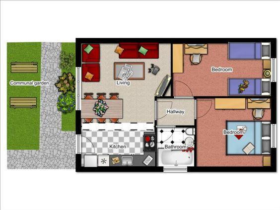 2 Bedroom Bungalow Floor Plan