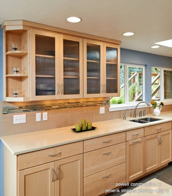 Natural maple cabinets with Caeserstone Desert Limestone ... on Light Maple Cabinets With Black Countertops  id=64330