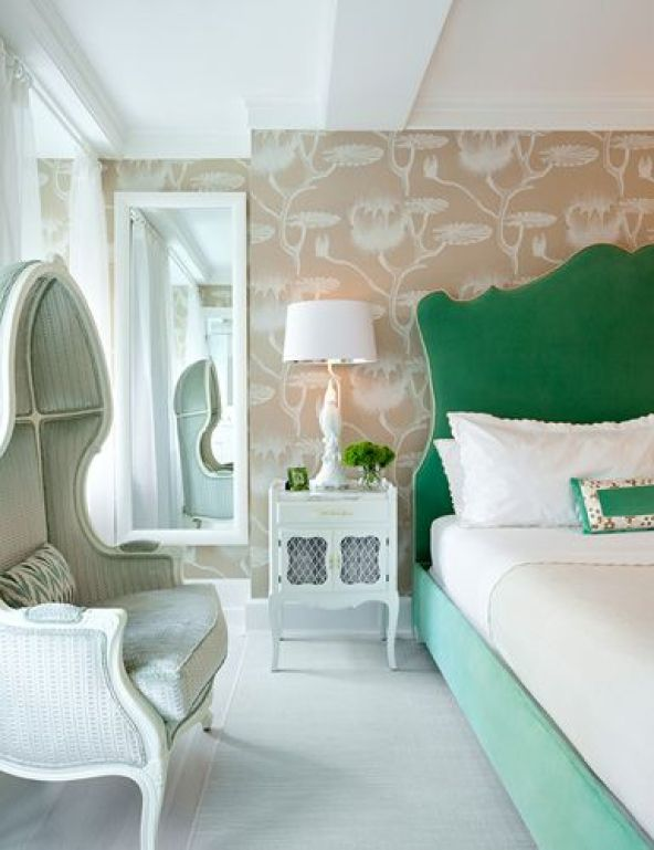 Beautiful headboard, lovely wall paper that strengthens the energy of the bed in…: