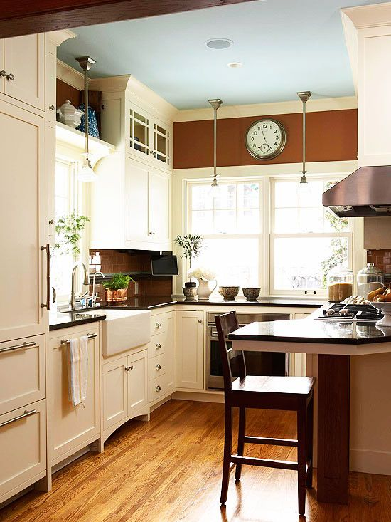 kitchen decorating ideas creative painted ceilings and small kitchens on kitchen makeover ideas id=55130