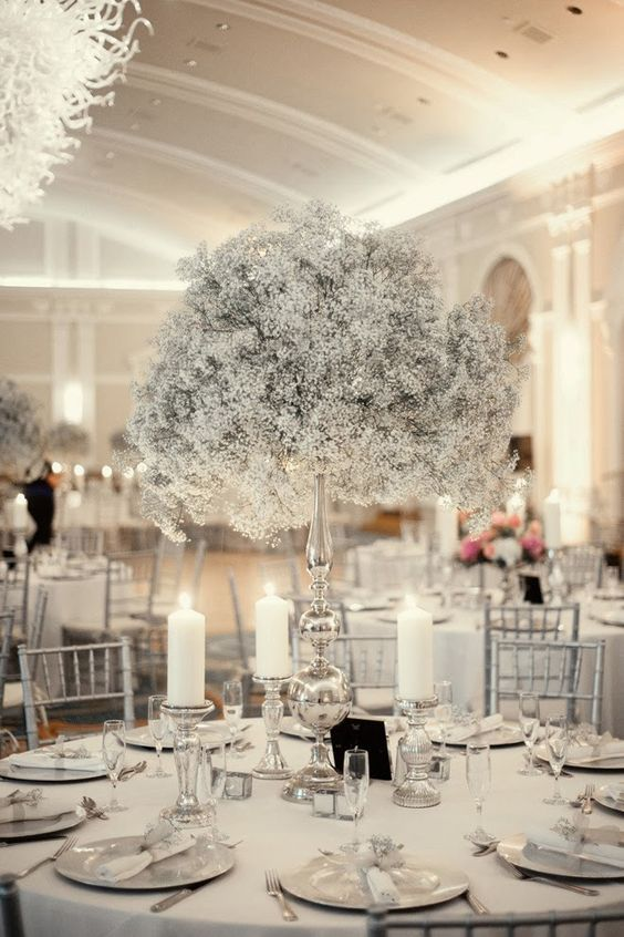Silver + baby's breath ~ The Best Wedding Centerpieces of 2013 ~ K and K Photography, LLC | bellethemagazine.com: