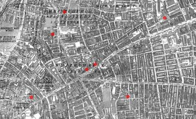 Map of Whitechapel and Spitalfields - note the presence of a manufacturing factory on White Lion Street. I decided to set my fictional Larker Factory there.: