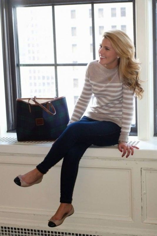 A sweater with jeans is a perfect preppy outfit!